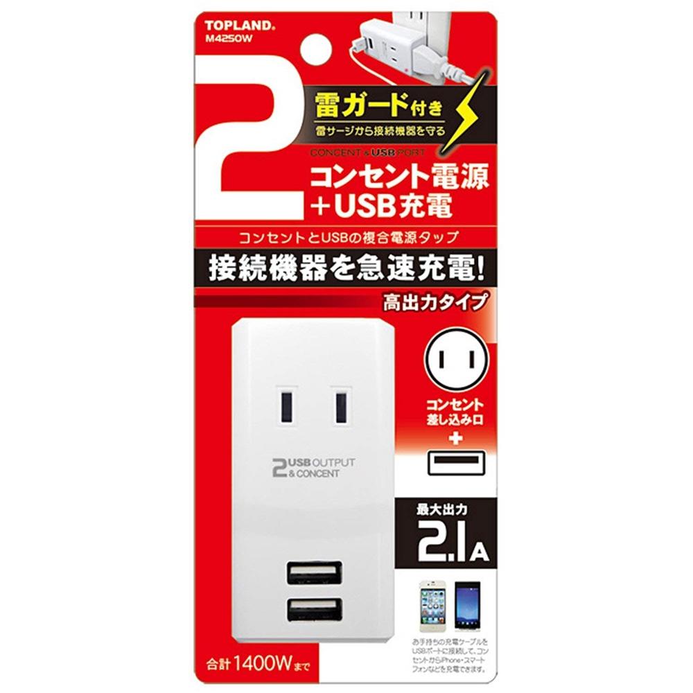 トップランド(TOPLAND) 2個口 コンセントタップ & USB充電 2ポート 急速充電2.1A 合計1400Wまで 雷ガード付き M4250W