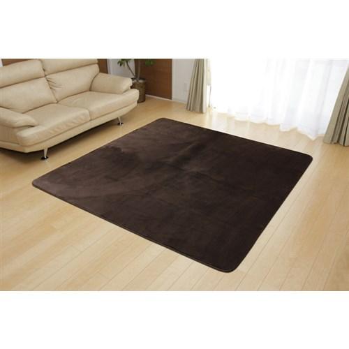 イケヒコ・コーポレーション(IKEHIKO)  ラグ カーペット 2畳 無地 フランネル 『フランアイズ』 ブラウン 約185×185cm(ホットカーペット対応)