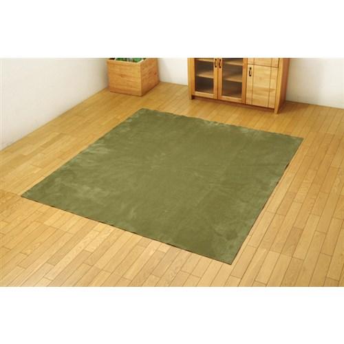 イケヒコ・コーポレーション(IKEHIKO)  ラグ カーペット 2畳 洗える 無地 『イーズ』 グリーン 約185×185cm 裏:すべりにくい加工 (ホットカーペット対応)