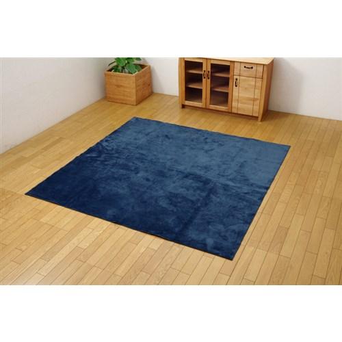 イケヒコ・コーポレーション(IKEHIKO)  ラグ カーペット 2畳 洗える 無地 『イーズ』 ネイビー 約185×185cm 裏:すべりにくい加工 (ホットカーペット対応)