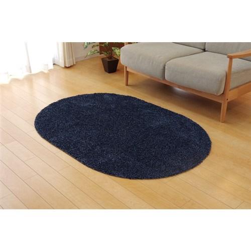 イケヒコ・コーポレーション(IKEHIKO)  ラグ カーペット 1畳 洗える タフト風 『ノベル』 ブルー 約100×150cm 楕円 裏:すべりにくい加工 (ホットカーペット対応)