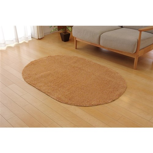 イケヒコ・コーポレーション(IKEHIKO)  ラグ カーペット 1畳 洗える タフト風 『ノベル』 オレンジ 約100×150cm 楕円 裏:すべりにくい加工 (ホットカーペット対応)