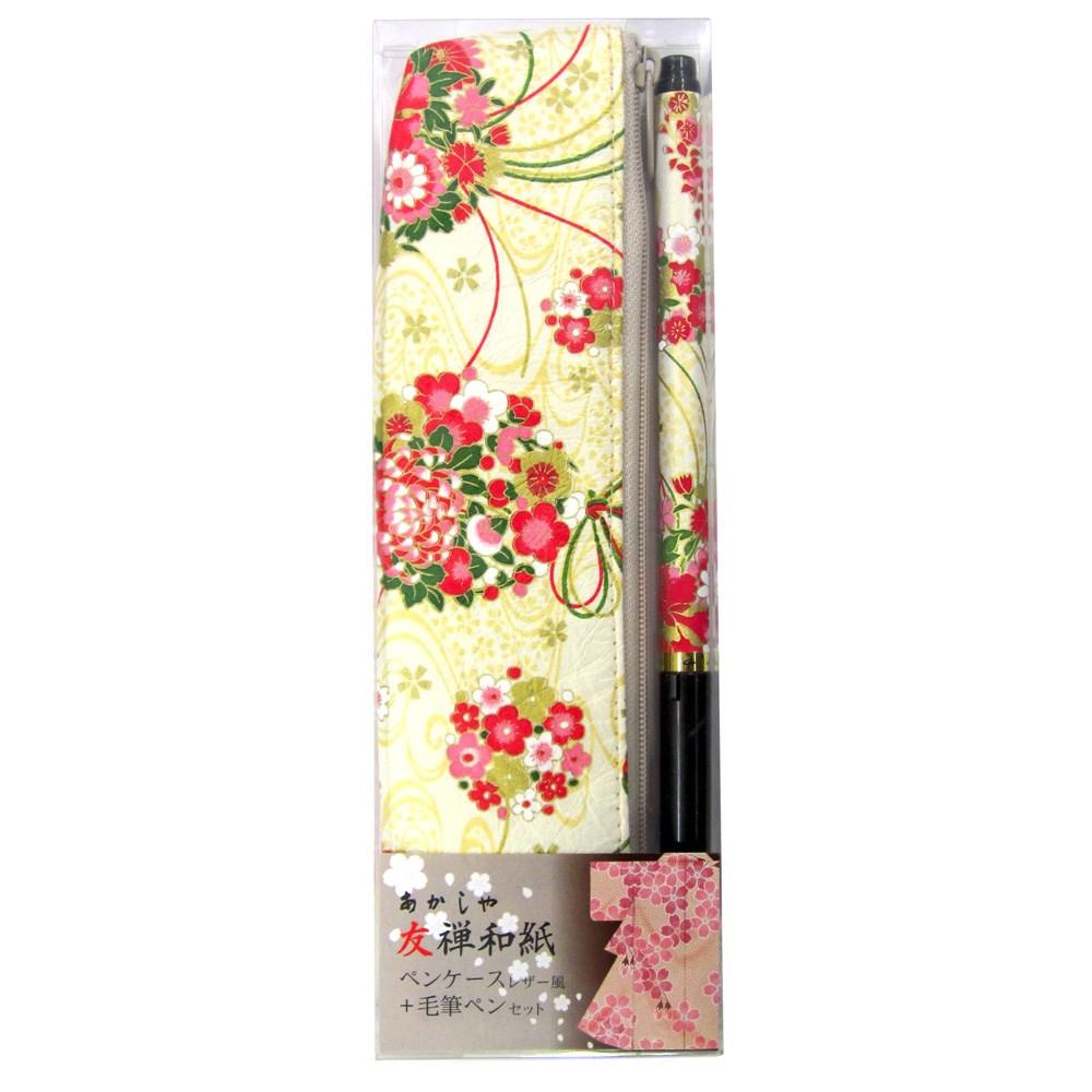 友禅和紙ペンケースSセット四季の花束(白)