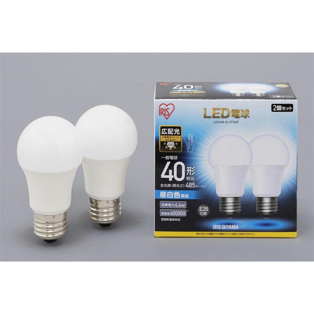 アイリスオーヤマ(IRIS OHYAMA) LED電球E26 2P広配光タイプ昼白色40形相当 LDA4NーG−4T52P