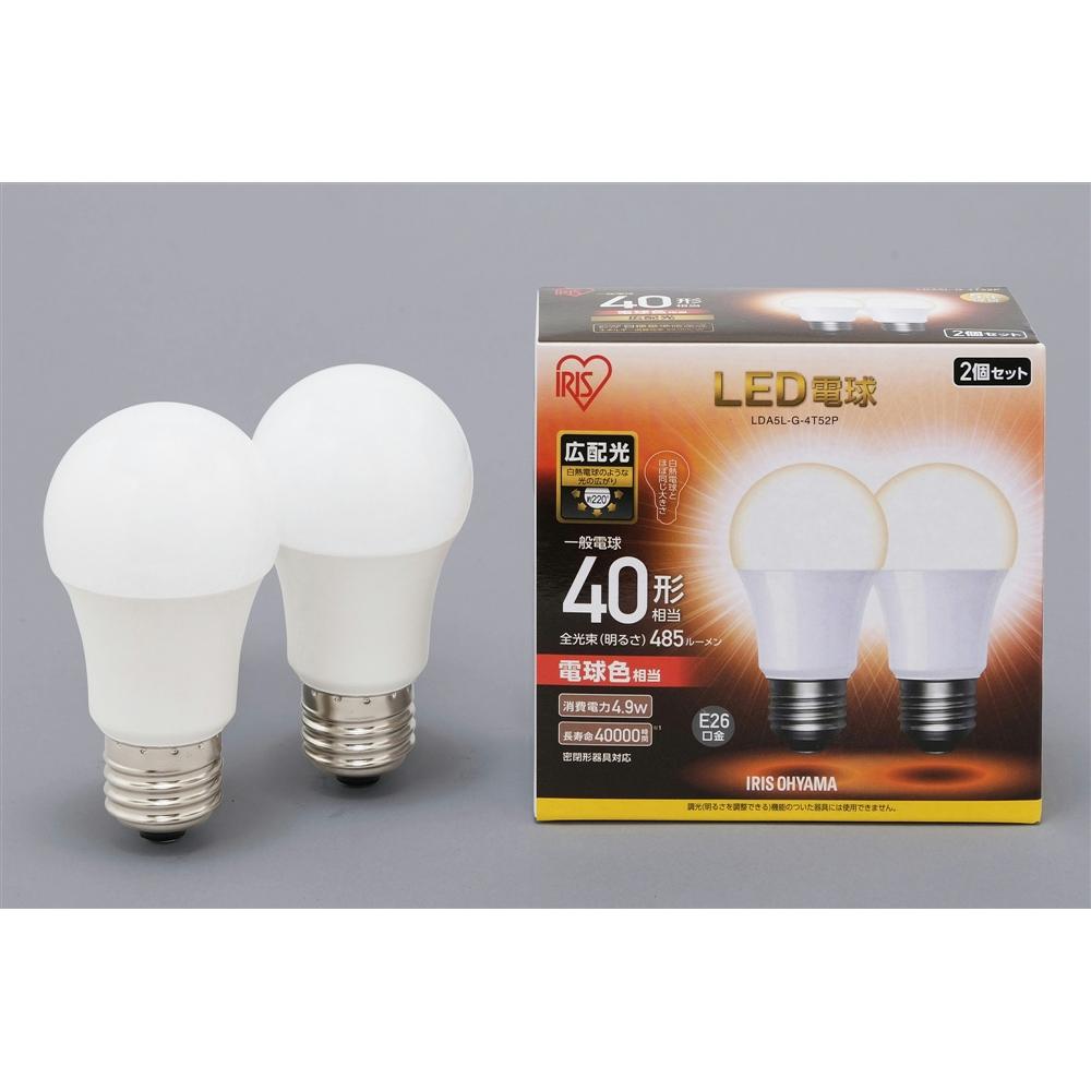 アイリスオーヤマ(IRIS OHYAMA) LED電球E26 2P広配光タイプ電球色40形相当 LDA5LーG−4T52P