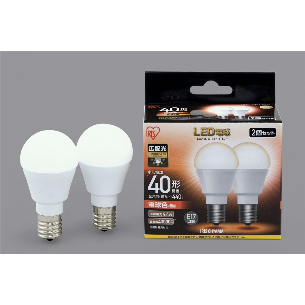 アイリスオーヤマ(IRIS OHYAMA) LED電球E17広配光タイプ2P電球色40形相当 LDA4LGE17−4T52P
