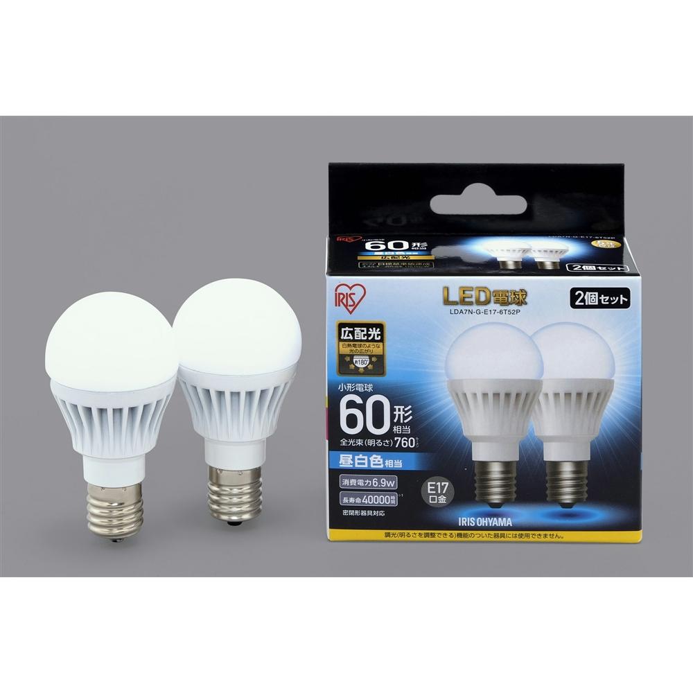 アイリスオーヤマ(IRIS OHYAMA) LED電球E17広配光タイプ2P昼白色60形相当 LDA7NGE17−6T52P