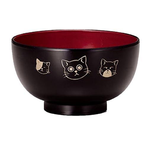 レンジ汁椀 やんちゃ猫 黒