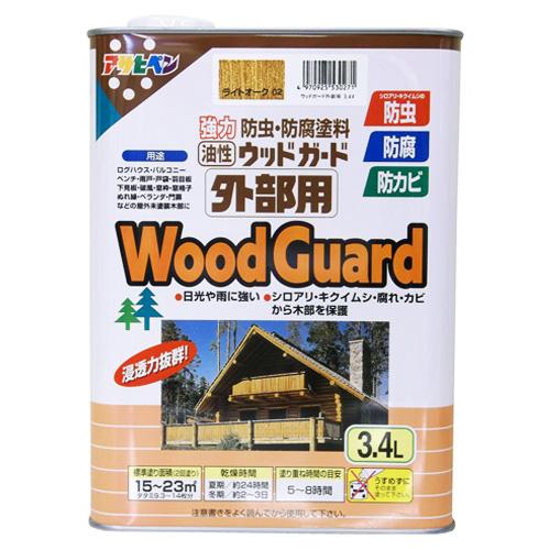 アサヒペン(Asahipen) 強力防虫・防腐塗料 油性ウッドガード外部用 ライトオーク 3.4L