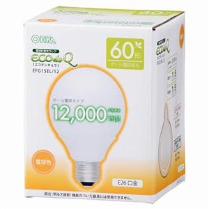 電球型蛍光灯 エコデンキュウ G型 E26/60形 電球色 EFG15EL/12