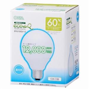 電球型蛍光灯 エコデンキュウ G型 E26/60形 昼光色 EFG15ED/12