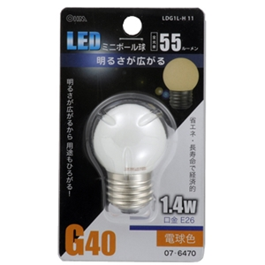 LEDミニボール球 1.4W電球色 E26 LDG1L−H 11