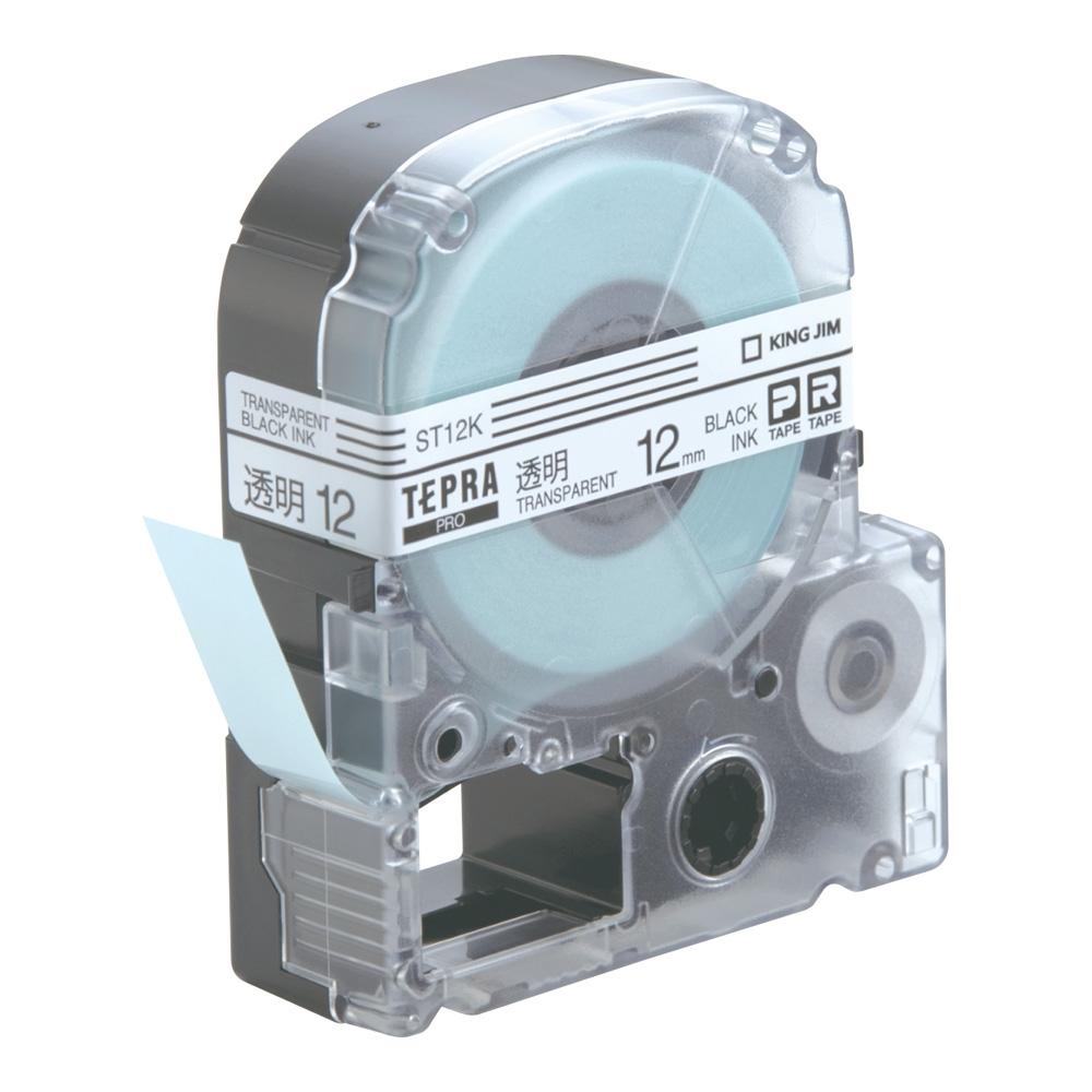 「テプラ」PROテープ 12mm 透明に黒文字