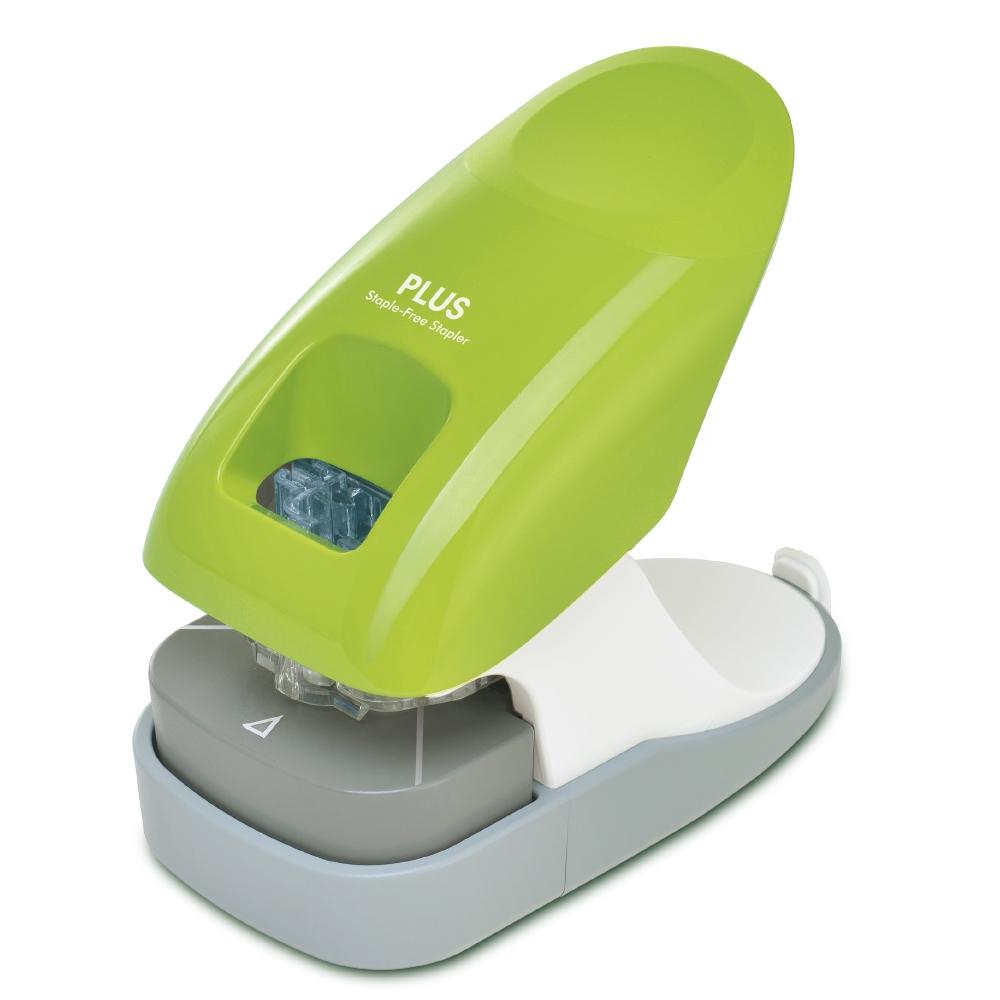 PLUS(プラス)  針なしホッチキス ペーパークリンチ 卓上型 グリーン 221465