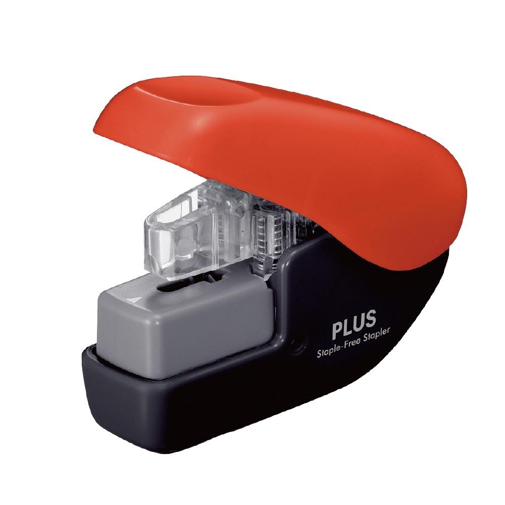 PLUS(プラス)  針なしホッチキス ペーパークリンチミニ ブラックレッド 220567