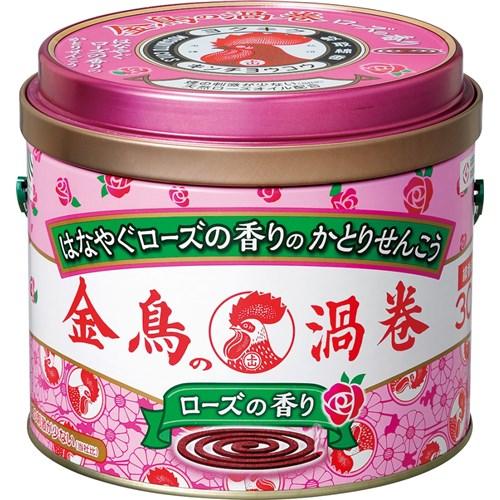 金鳥の渦巻ローズの香り30巻缶入