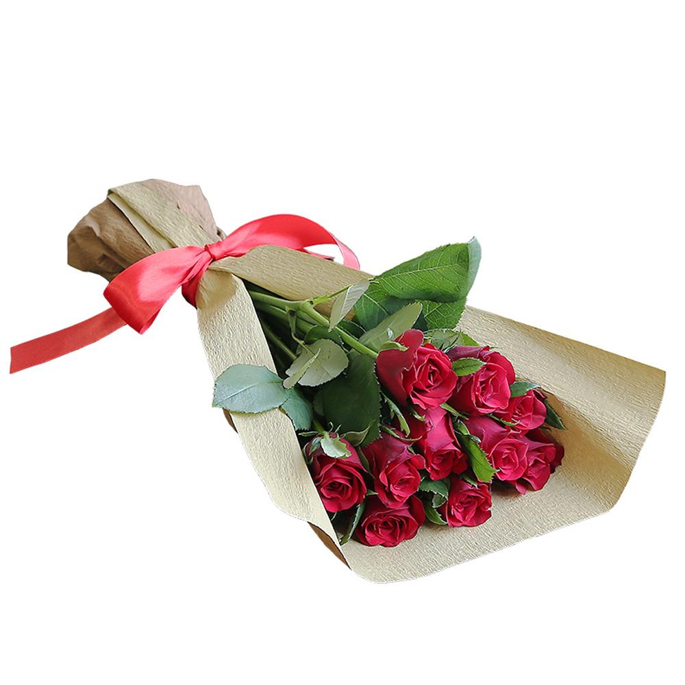 バラ花束 フラワーギフト 赤色 10本束 シック系ラッピング 高さ40cm前後