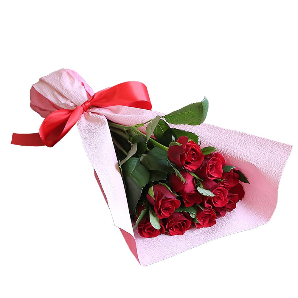 バラ花束 フラワーギフト 赤色 10本束 かわいい系ラッピング 高さ40cm前後