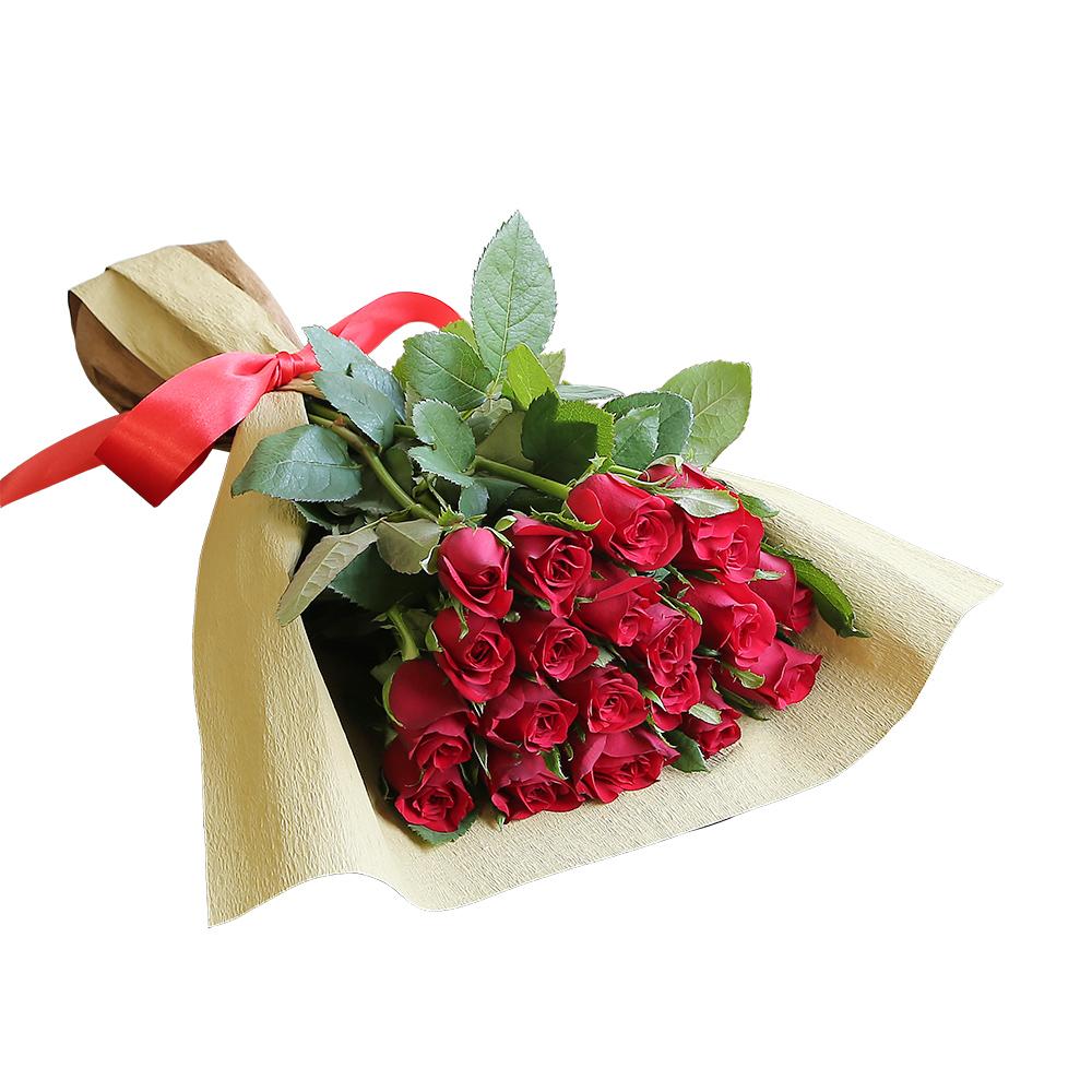 バラ花束 フラワーギフト 赤色 20本束 シック系ラッピング 高さ40cm前後