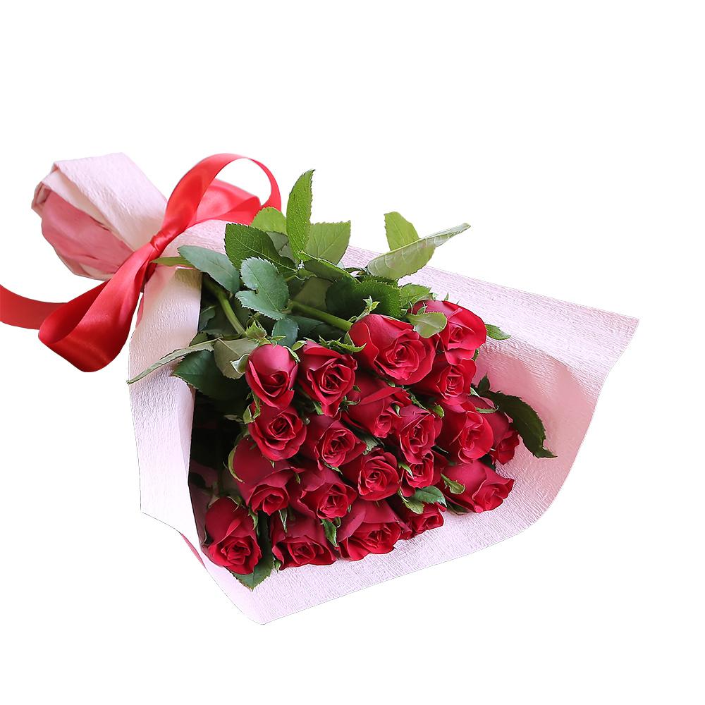 バラ花束 フラワーギフト 赤色 20本束 かわいい系ラッピング 高さ40cm前後