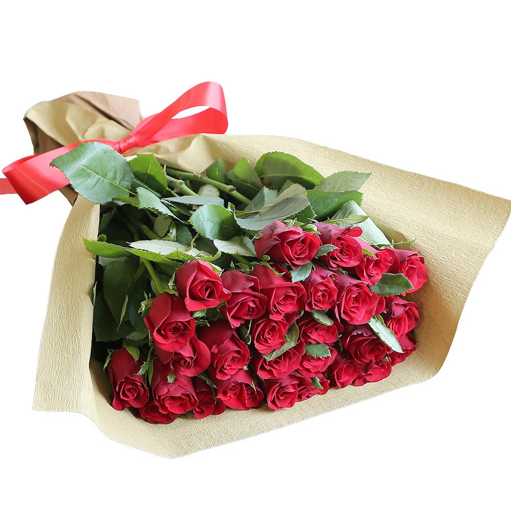 バラ花束 フラワーギフト 赤色 30本束 シック系ラッピング 高さ40cm前後