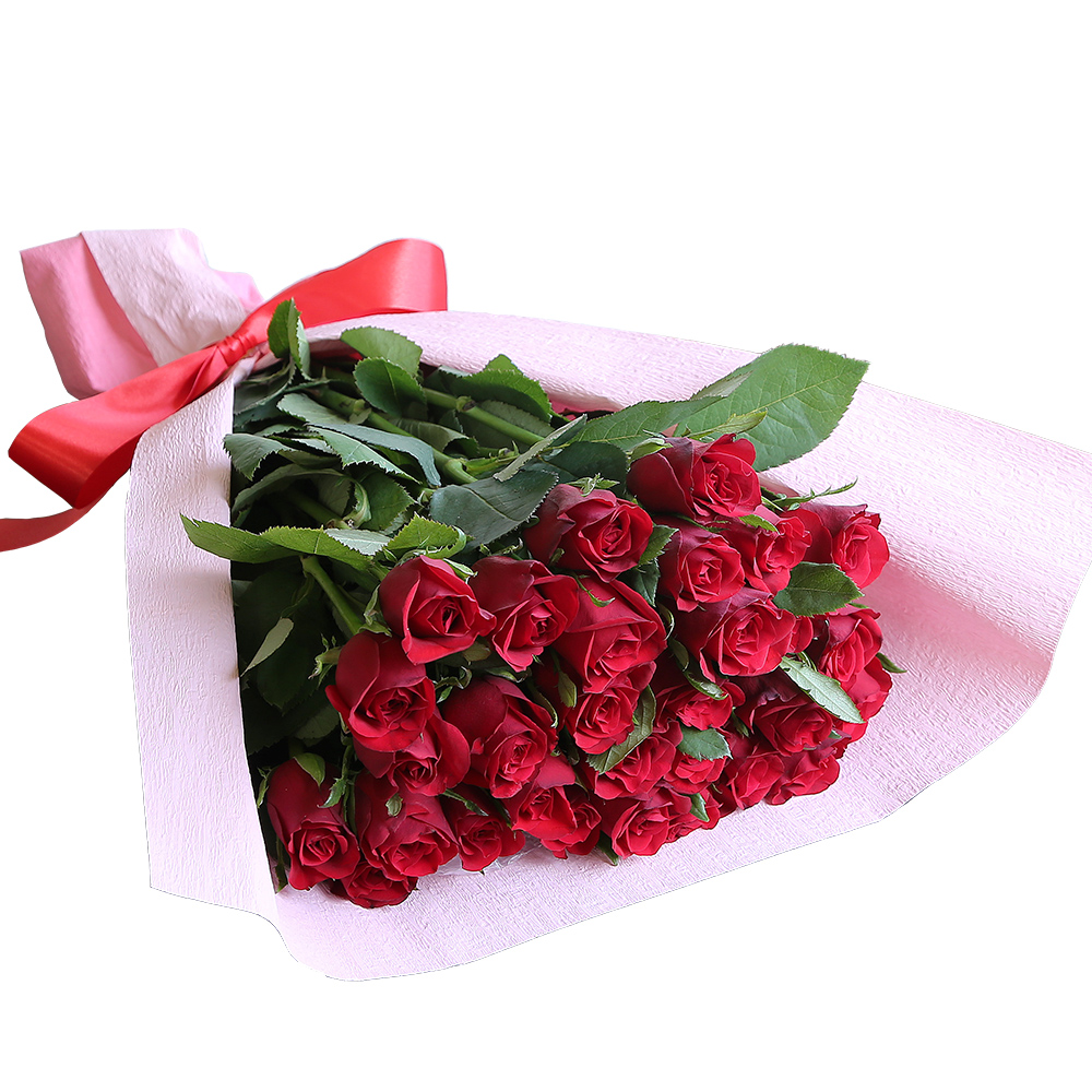 バラ花束 フラワーギフト 赤色 30本束 かわいい系ラッピング 高さ40cm前後