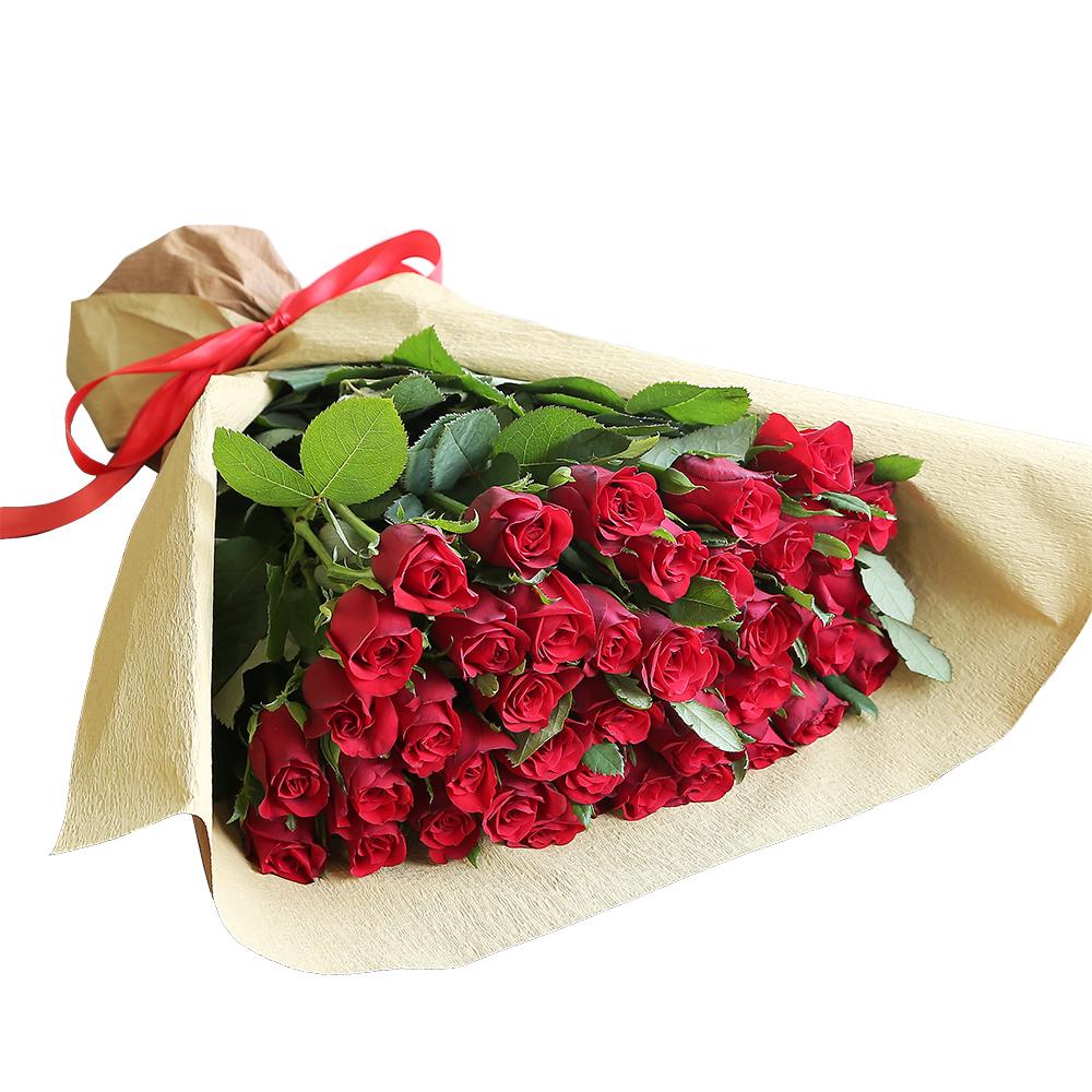 バラ花束 フラワーギフト 赤色 40本束 シック系ラッピング 高さ40cm前後