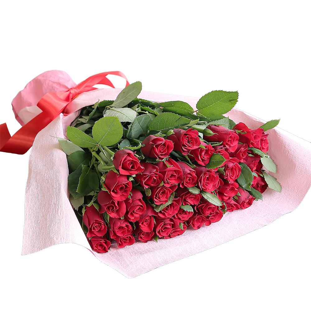 バラ花束 フラワーギフト 赤色 40本束 かわいい系ラッピング 高さ40cm前後
