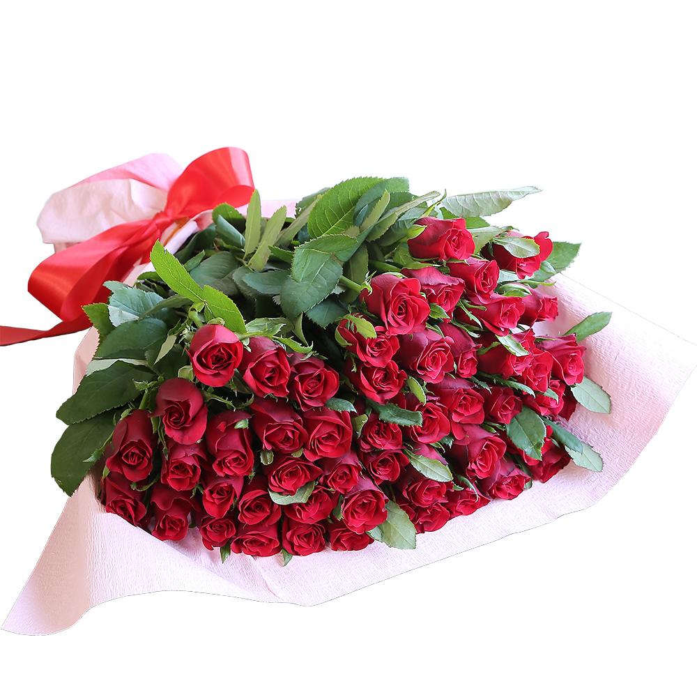 バラ花束 フラワーギフト 赤色 50本束 かわいい系ラッピング 高さ40cm前後