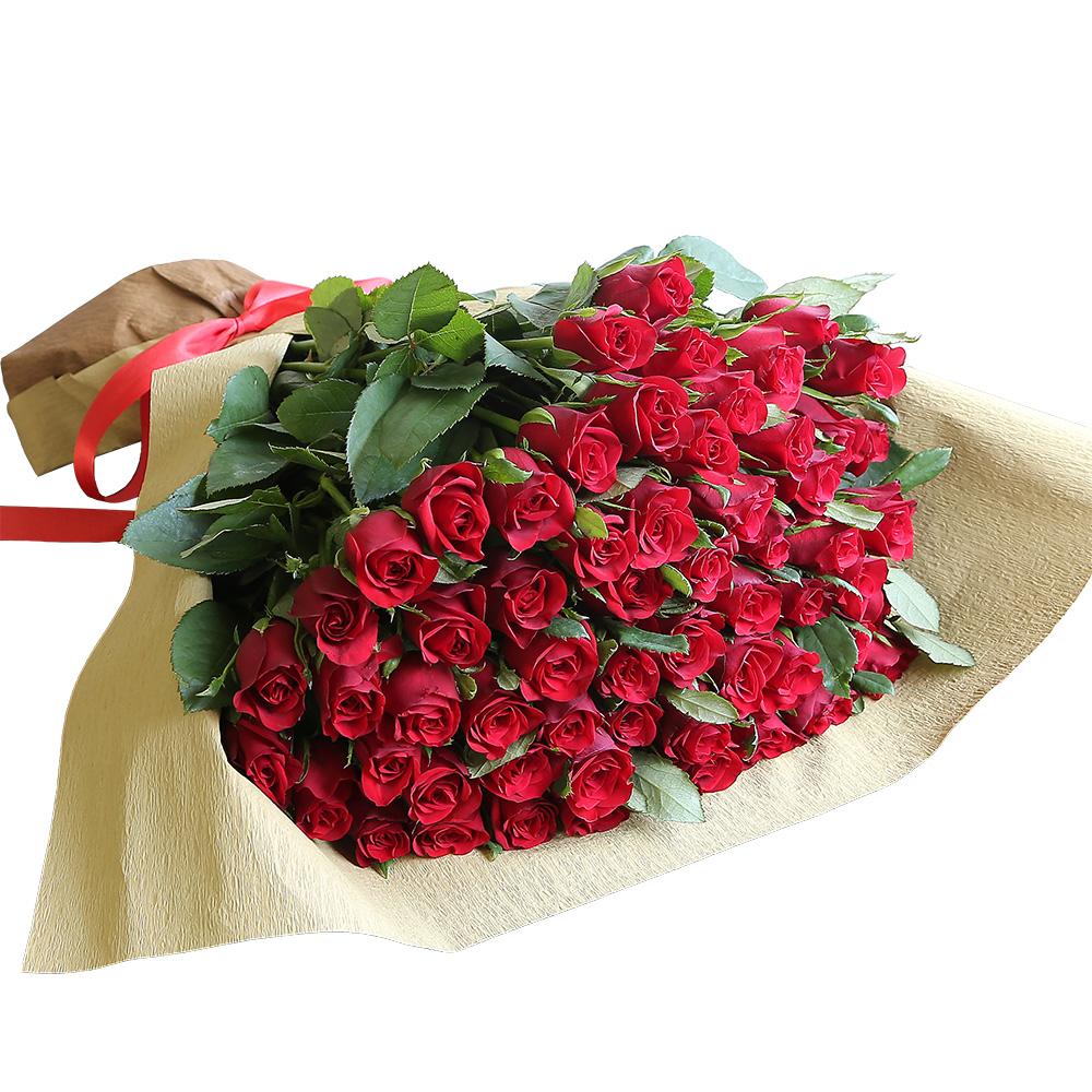バラ花束 フラワーギフト 赤色 60本束 シック系ラッピング 高さ40cm前後