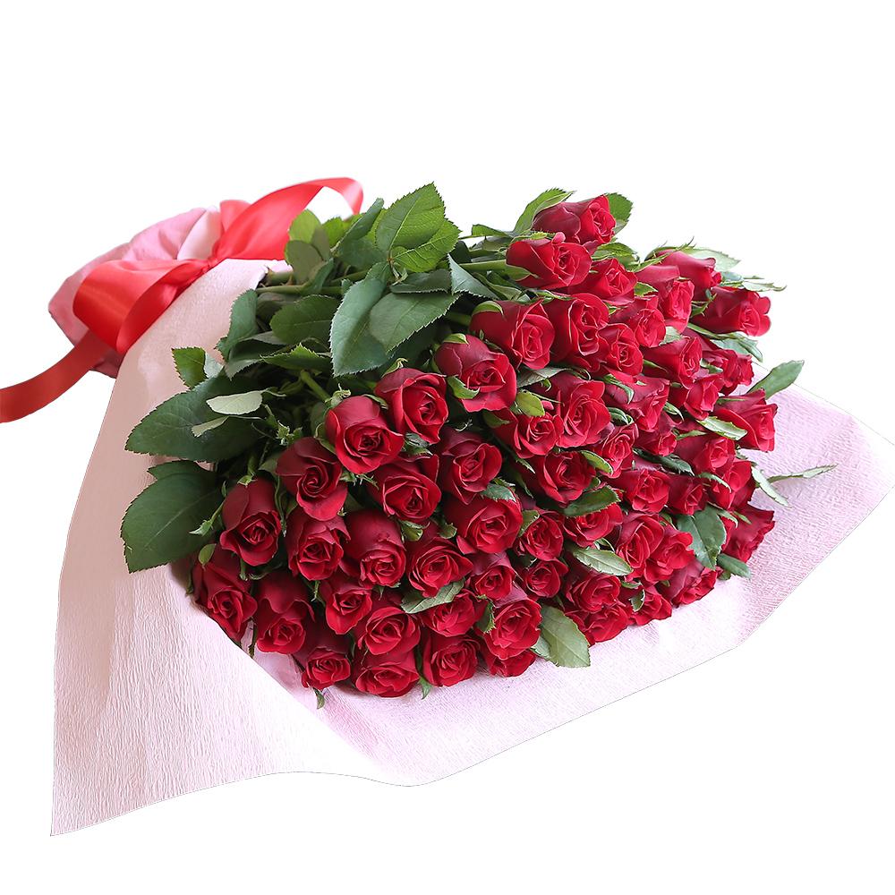 バラ花束 フラワーギフト 赤色 60本束 かわいい系ラッピング 高さ40cm前後
