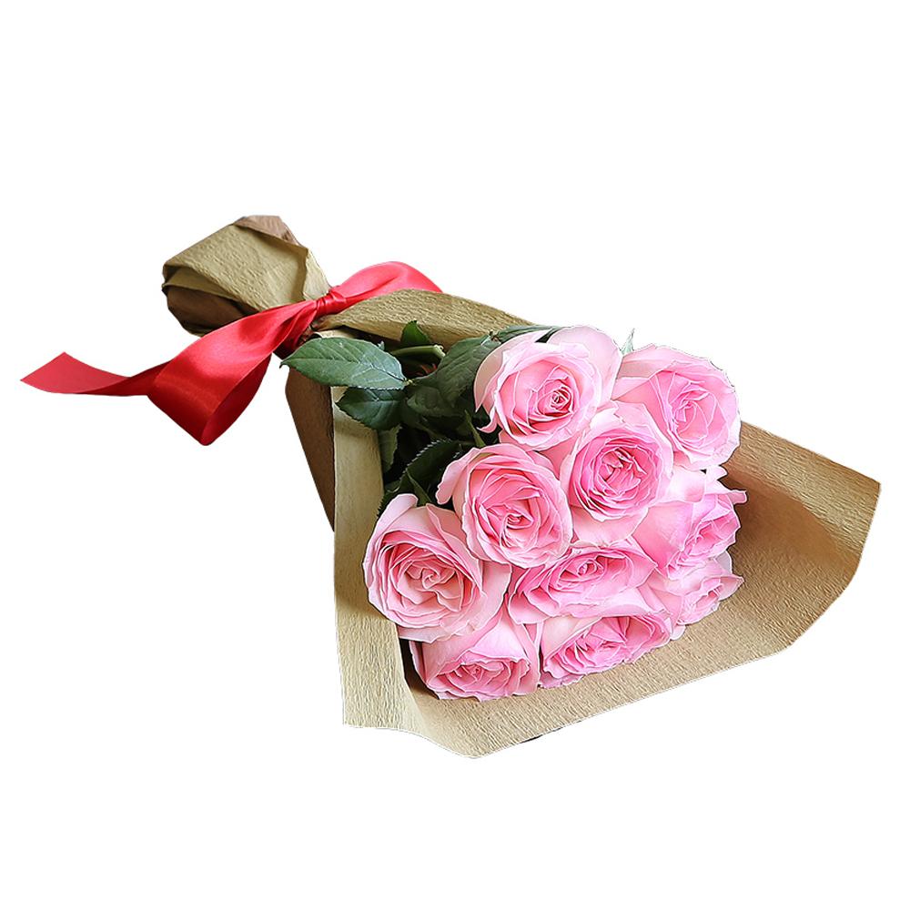 バラ花束 フラワーギフト ピンク色 10本束 シック系ラッピング 高さ40cm前後