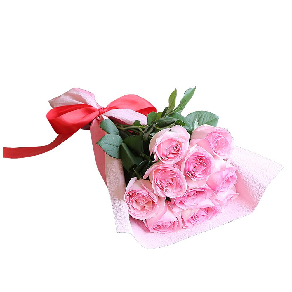 バラ花束 フラワーギフト ピンク色 10本束 かわいい系ラッピング 高さ40cm前後