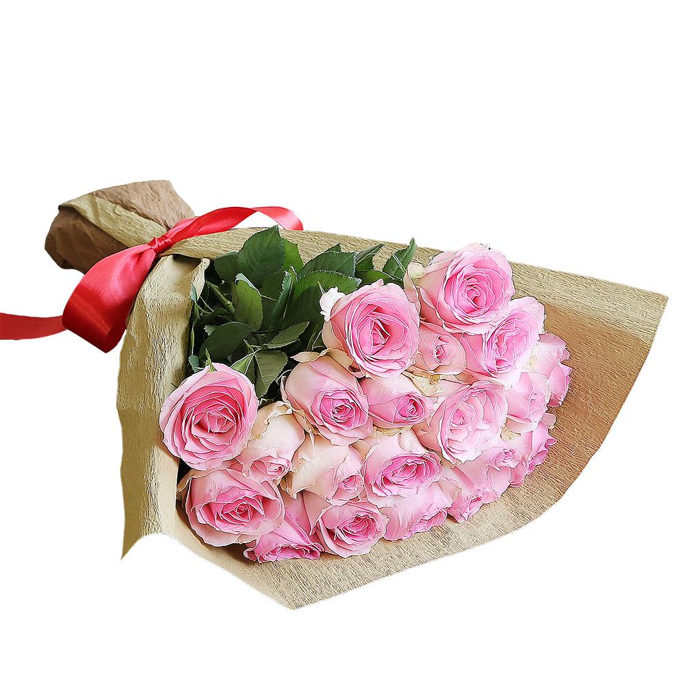 バラ花束 フラワーギフト ピンク色 20本束 シック系ラッピング 高さ40cm前後