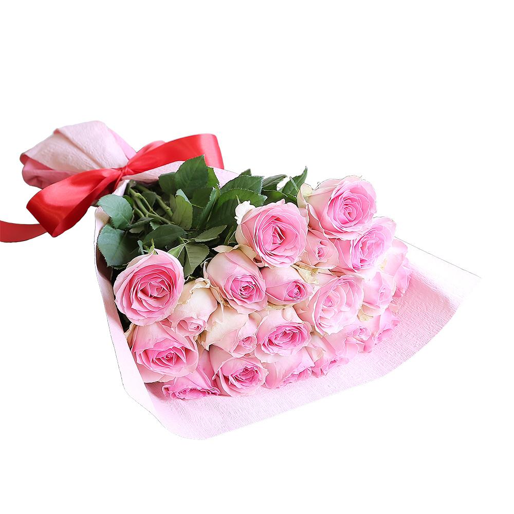 バラ花束 フラワーギフト ピンク色 20本束 かわいい系ラッピング 高さ40cm前後