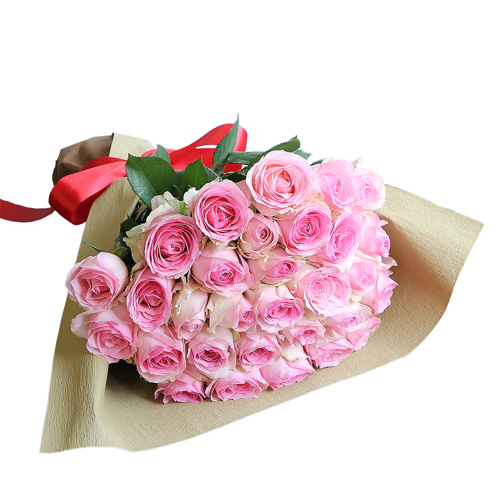 バラ花束 フラワーギフト ピンク色 30本束 シック系ラッピング 高さ40cm前後