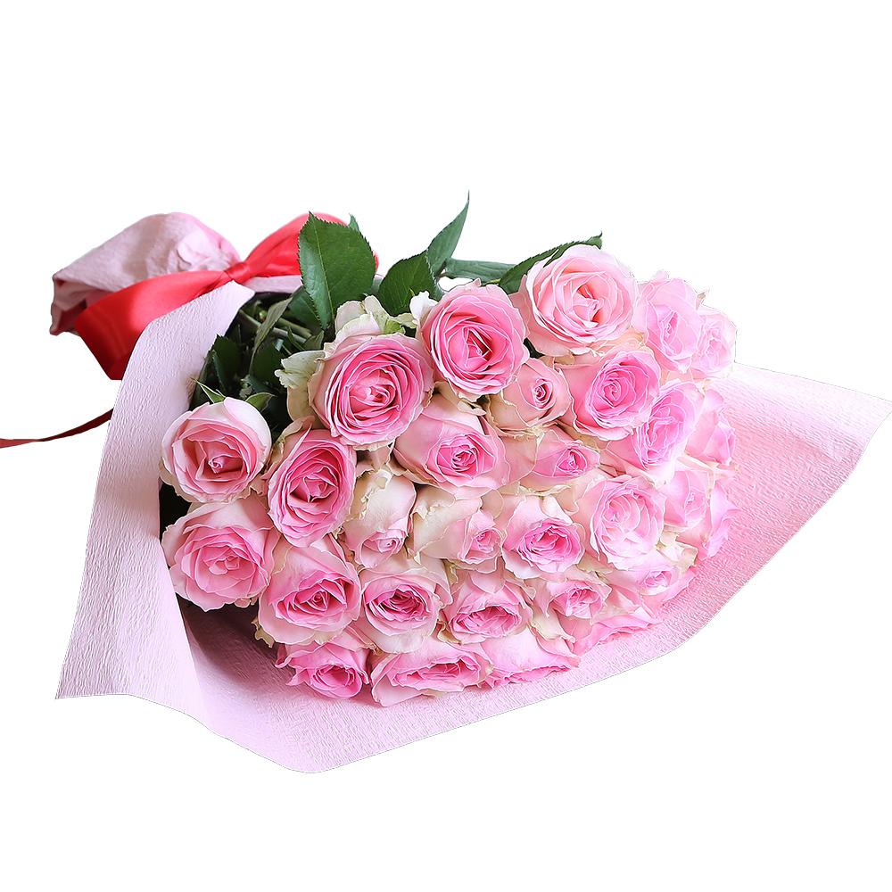 バラ花束 フラワーギフト ピンク色 30本束 かわいい系ラッピング 高さ40cm前後