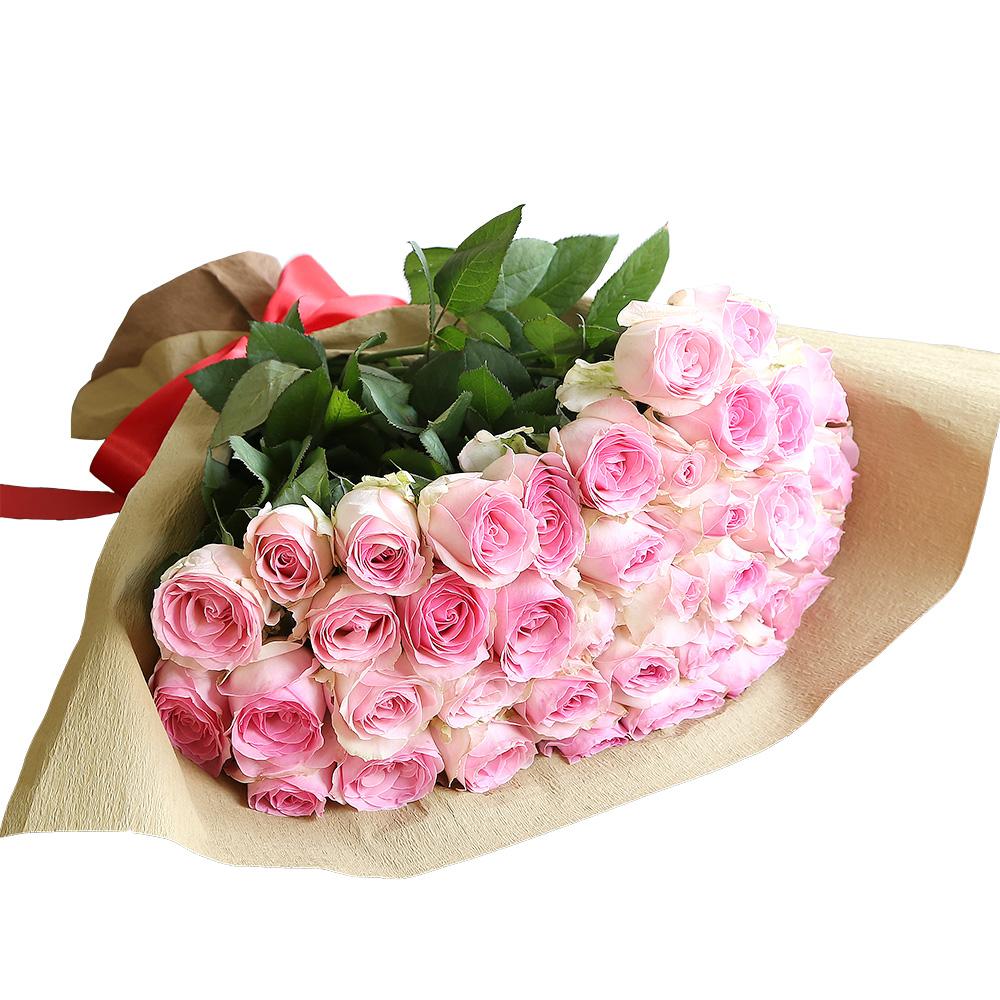 バラ花束 フラワーギフト ピンク色 40本束 シック系ラッピング 高さ40cm前後