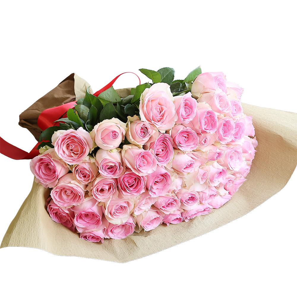 バラ花束 フラワーギフト ピンク色 50本束 シック系ラッピング 高さ40cm前後