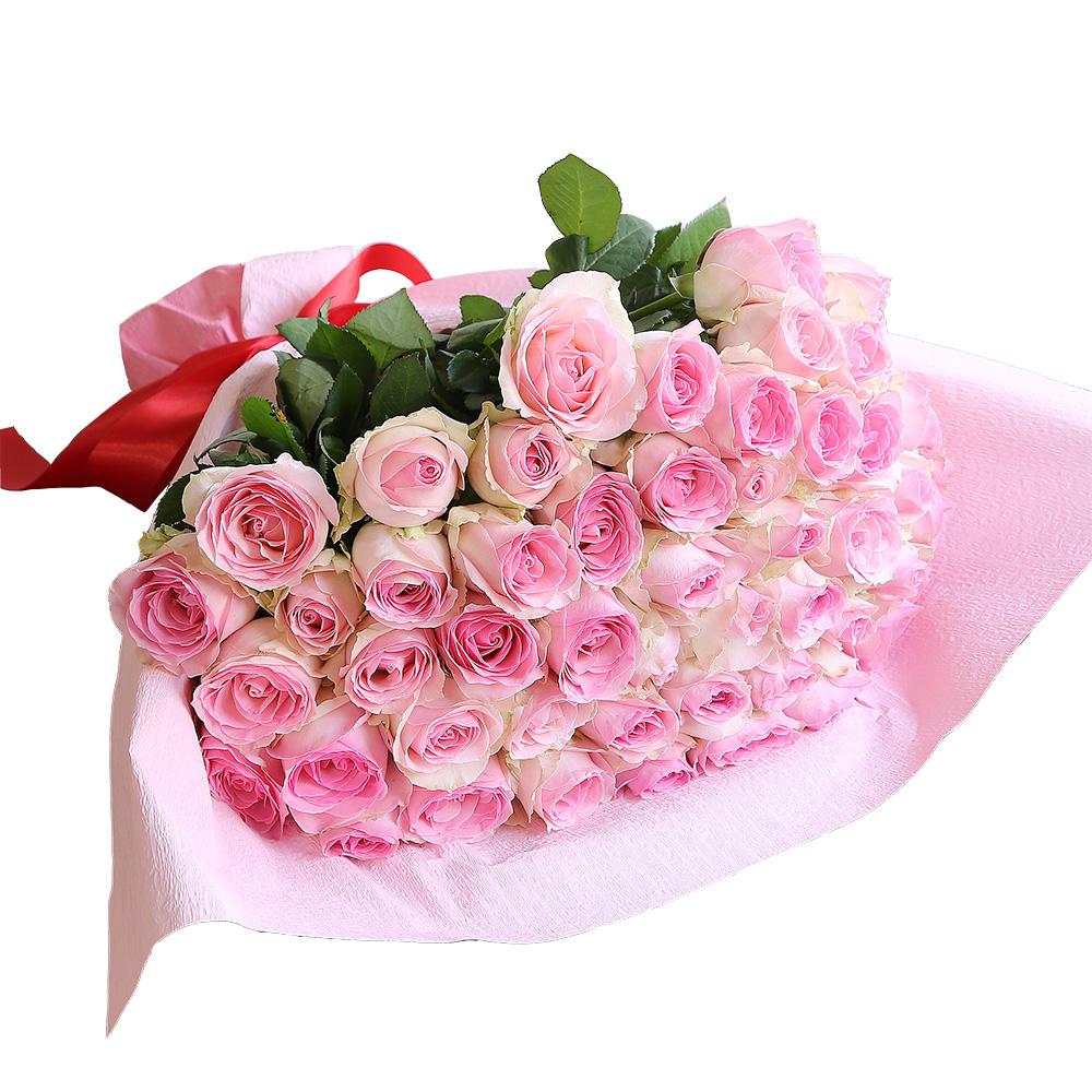 バラ花束 フラワーギフト ピンク色 50本束 かわいい系ラッピング 高さ40cm前後