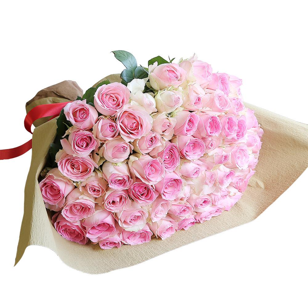 バラ花束 フラワーギフト ピンク色 60本束 シック系ラッピング 高さ40cm前後