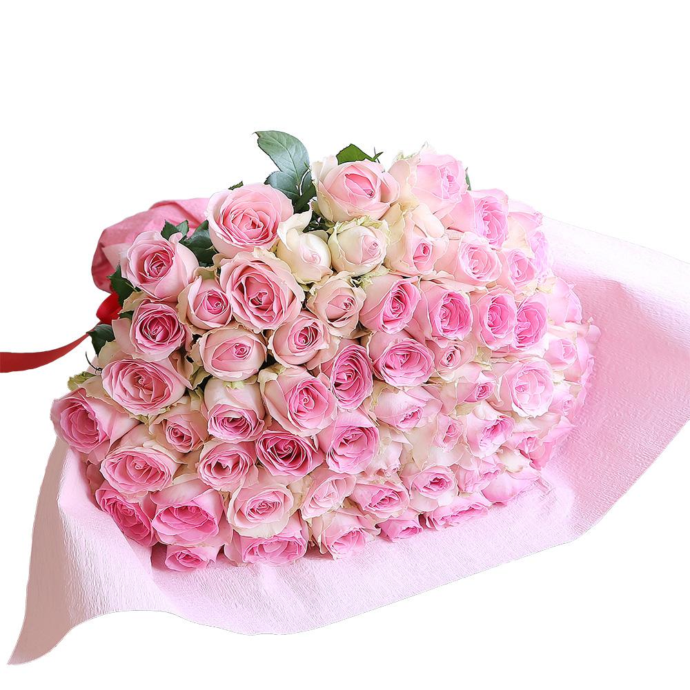 バラ花束 フラワーギフト ピンク色 60本束 かわいい系ラッピング 高さ40cm前後