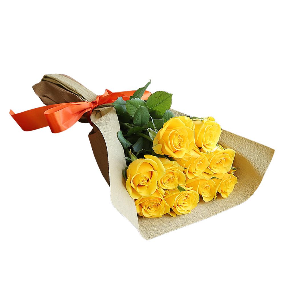 バラ花束 フラワーギフト 黄色 10本束 シック系ラッピング 高さ40cm前後