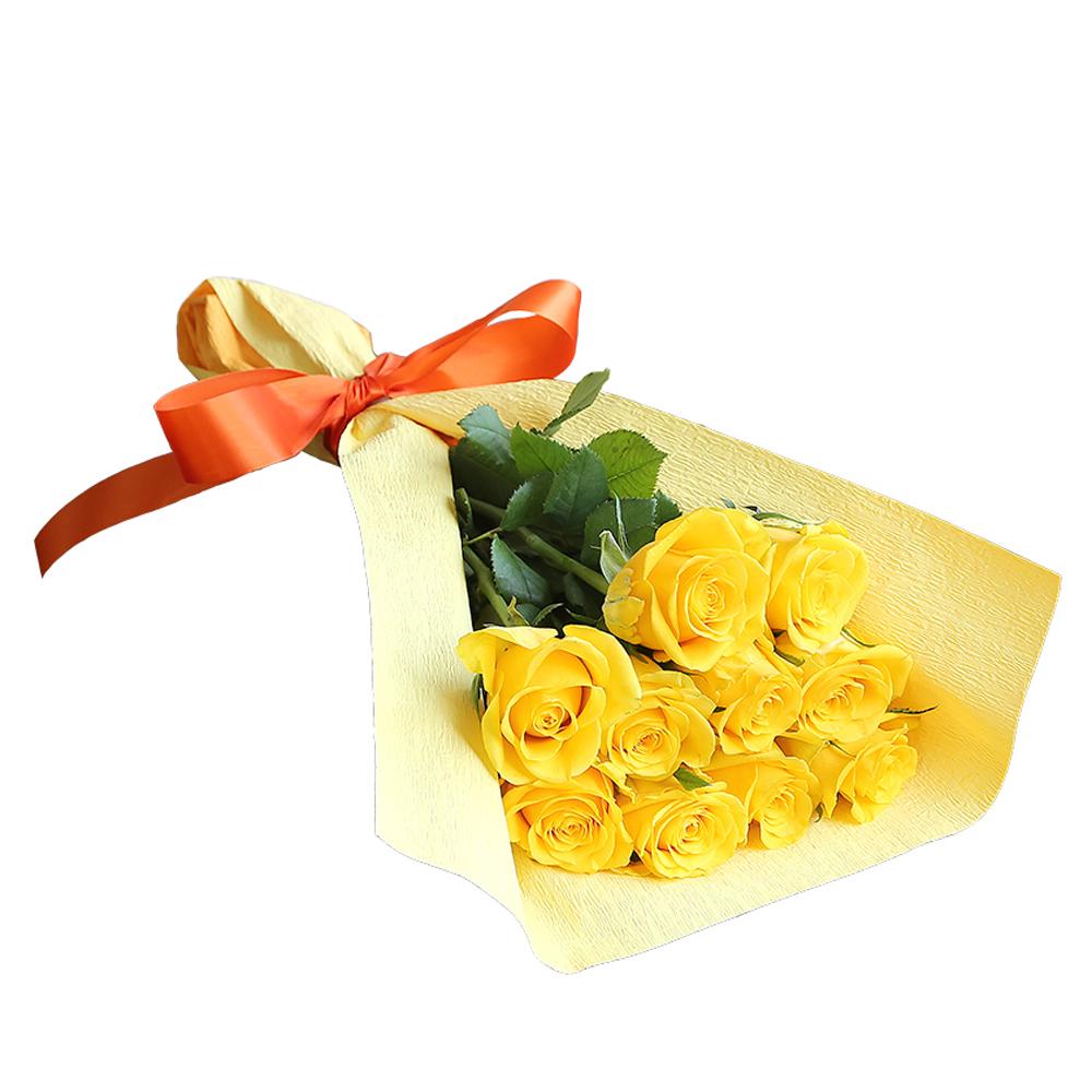 バラ花束 フラワーギフト 黄色 10本束 かわいい系ラッピング 高さ40cm前後