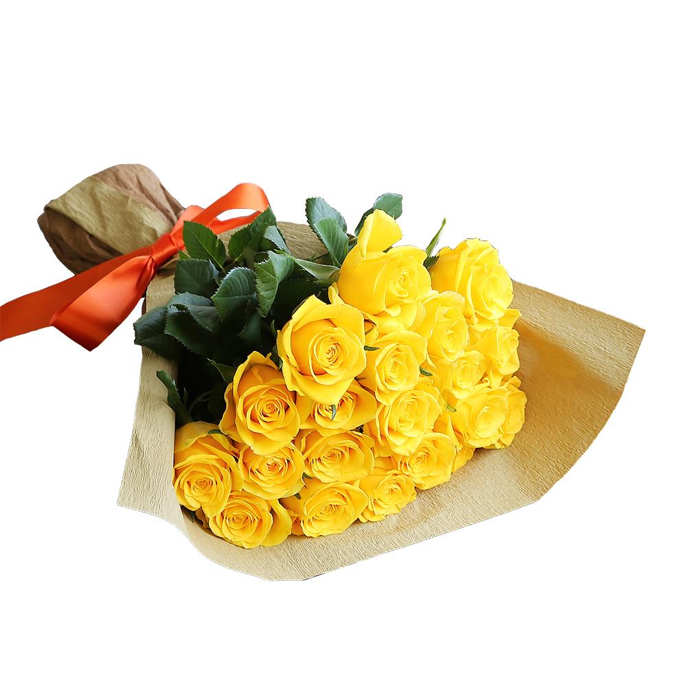バラ花束 フラワーギフト 黄色 20本束 シック系ラッピング 高さ40cm前後