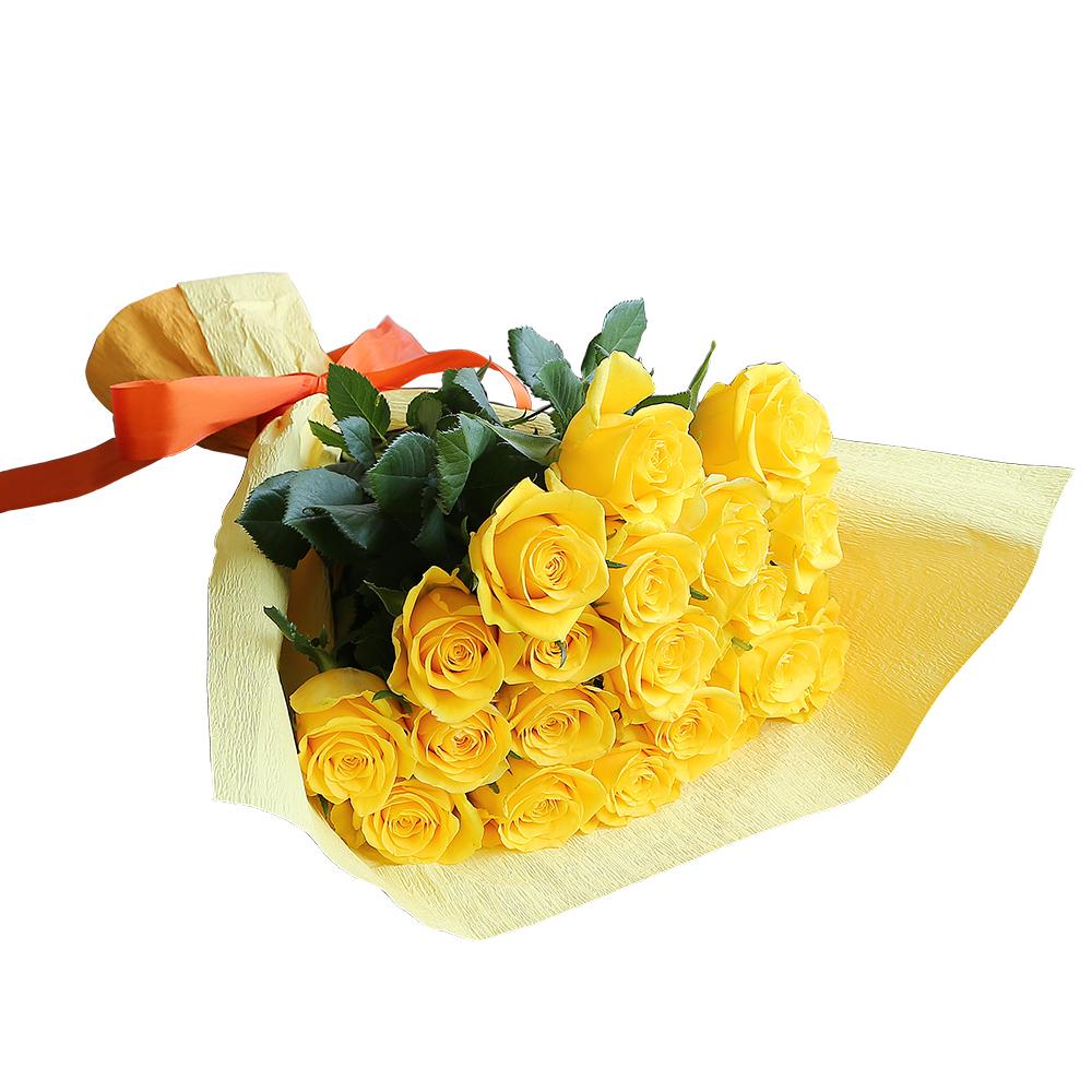 バラ花束 フラワーギフト 黄色 20本束 かわいい系ラッピング 高さ40cm前後