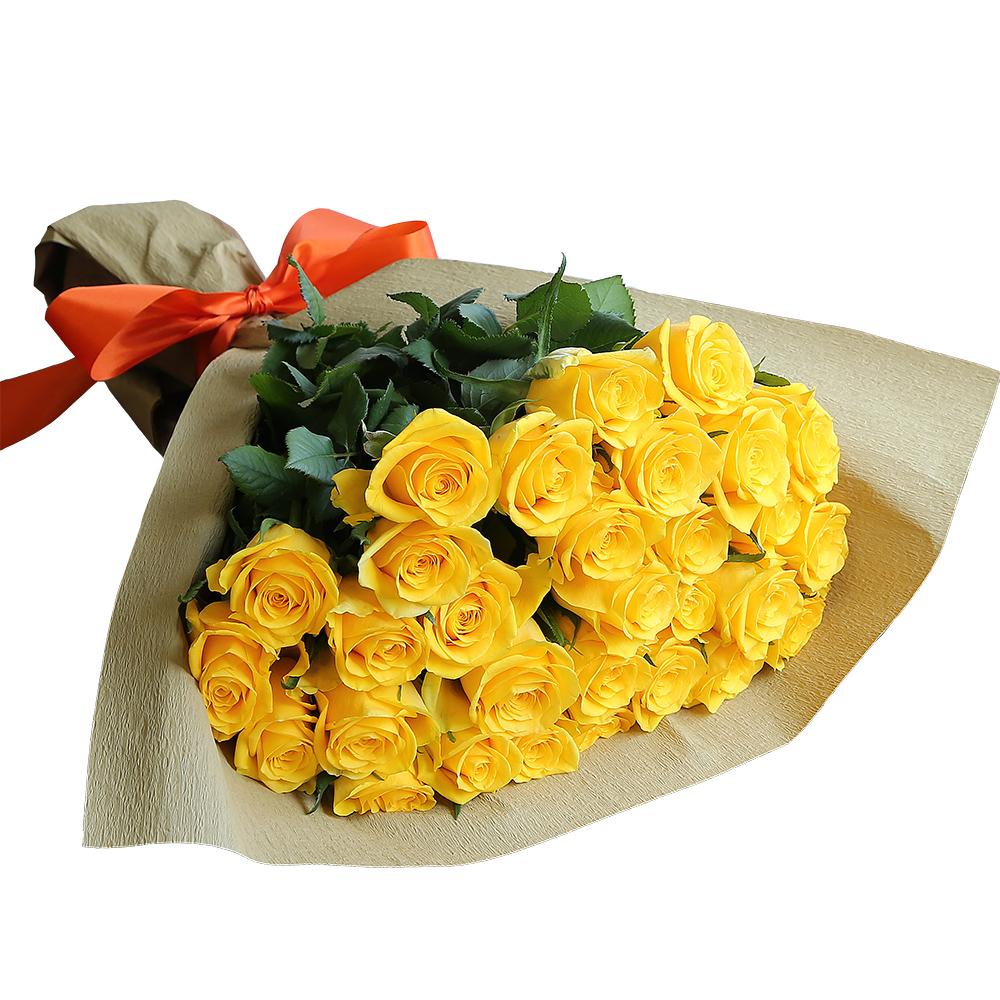 バラ花束 フラワーギフト 黄色 30本束 シック系ラッピング 高さ40cm前後