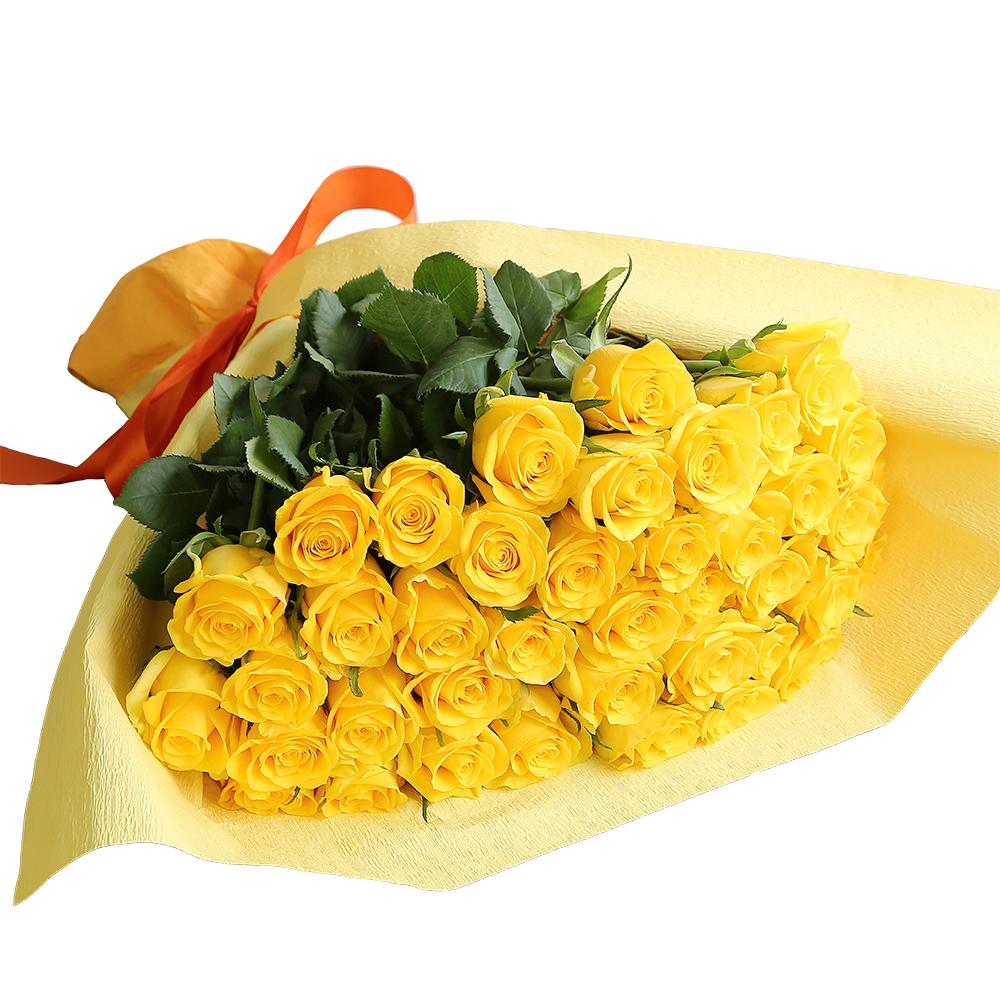 バラ花束 フラワーギフト 黄色 40本束 かわいい系ラッピング 高さ40cm前後