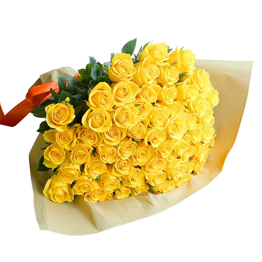 バラ花束 フラワーギフト 黄色 60本束 シック系ラッピング 高さ40cm前後