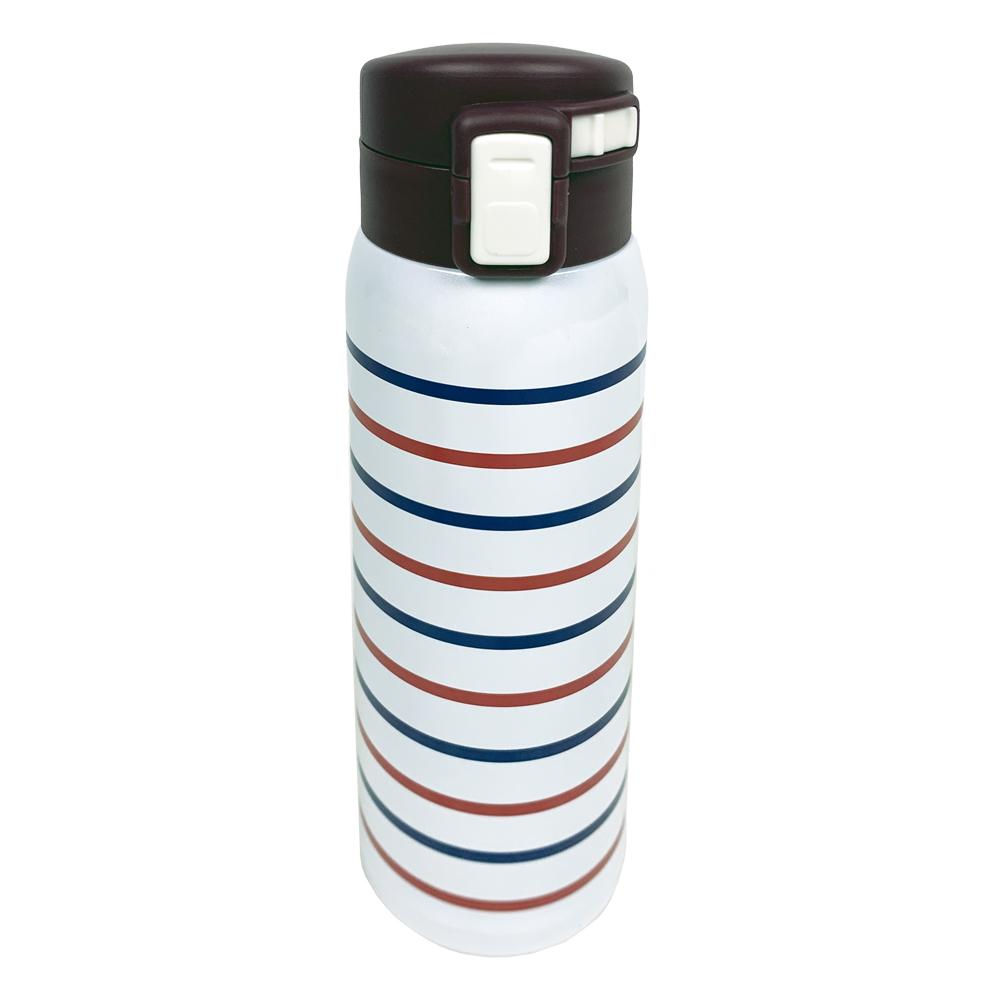 コーナン オリジナル LIFELEX 軽量ボーダーボトル 480ml ホワイト ステンレス水筒